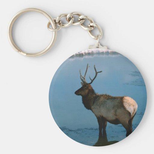 Ciervos del invierno en la charca llaveros personalizados