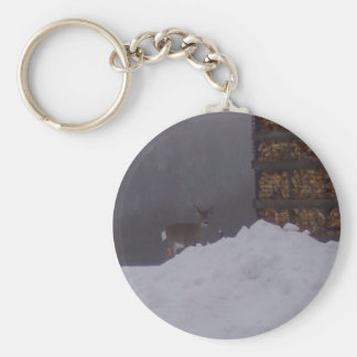 Ciervos del invierno llavero redondo tipo pin