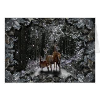 Ciervos del invierno tarjeta de felicitación