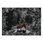 Ciervos del invierno tarjetón