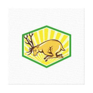 Ciervos del macho que cargan el dibujo animado lat impresión de lienzo