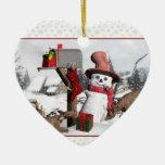 Ciervos del muñeco de nieve del buzón y ornamento ornamentos de reyes magos
