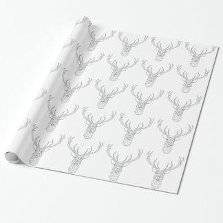 Ciervos del navidad con el modelo geométrico papel de regalo