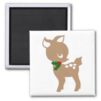 Ciervos del navidad del bebé con el imán del acebo