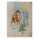 Ciervos del navidad del bebé del vintage felicitación