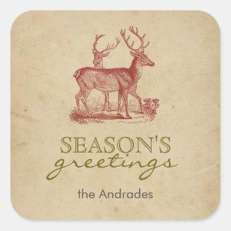Ciervos del navidad del vintage de los saludos de pegatina cuadrada