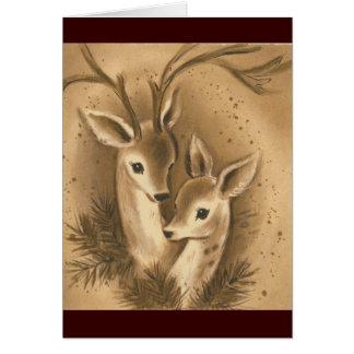 Ciervos del navidad del vintage felicitacion