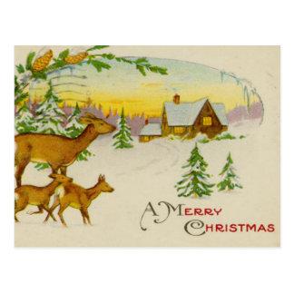 Ciervos del navidad del vintage tarjetas postales