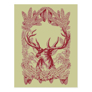 Ciervos del navidad del vintage tarjeta postal
