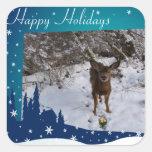 Ciervos del navidad pegatina cuadrada