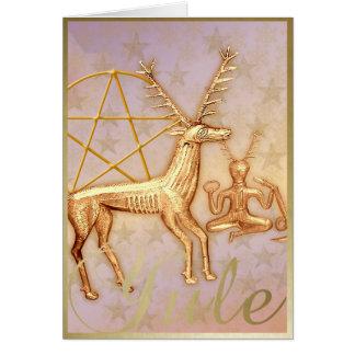 Ciervos del oro pentáculo y oro Cernunnos - tarj