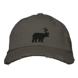 Ciervos del oso o declaración bordada grabada en gorros bordados