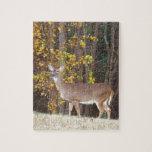 Ciervos delante del árbol amarillo del otoño rompecabeza con fotos