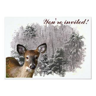 Ciervos e invitación escarchada del solsticio de