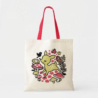 Ciervos en el bosque - rosa bolsa tela barata