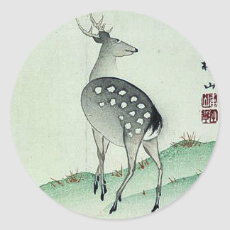 Ciervos en el otoño Ukiyoe Pegatinas