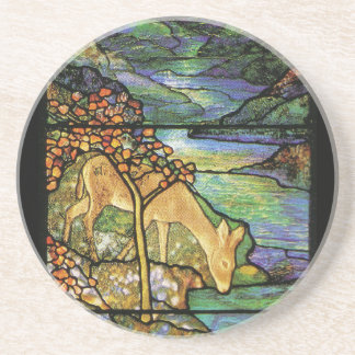 Ciervos en el práctico de costa del vitral de Tiff Posavasos Diseño