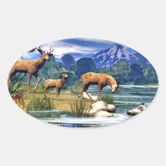 Ciervos en el río pegatina ovalada