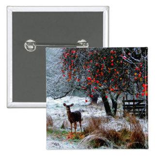 Ciervos en invierno pin cuadrada 5 cm