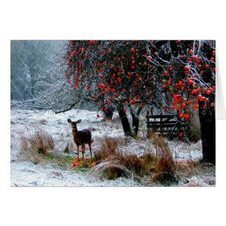 Ciervos en invierno tarjeta de felicitación