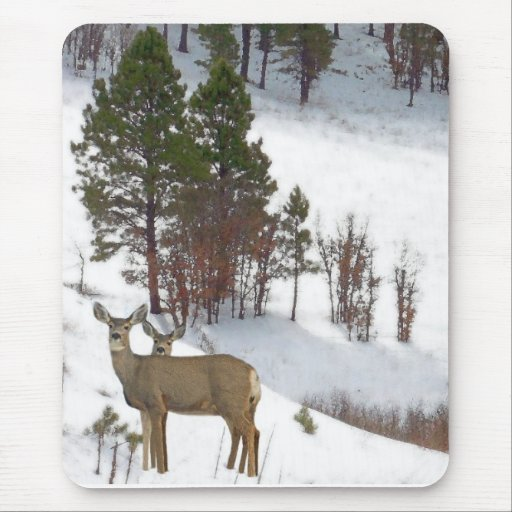 Ciervos en la montaña Mousepad Tapete De Ratón