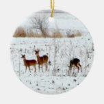Ciervos en la nieve ornaments para arbol de navidad