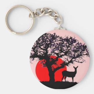 Ciervos en la puesta del sol llavero redondo tipo pin