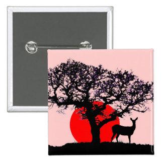 Ciervos en la puesta del sol pin cuadrado