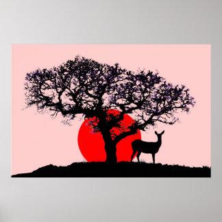 Ciervos en la puesta del sol póster
