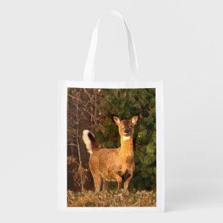Ciervos en la salida del sol bolsa reutilizable