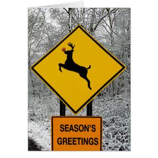 Ciervos en las linternas tarjeta de felicitación