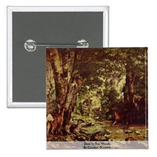 Ciervos en las maderas de Courbet Gustavo Chapa Cuadrada 5 Cm