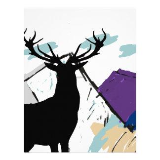 Ciervos en montañas membrete a diseño
