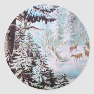 Ciervos en pegatina de la nieve