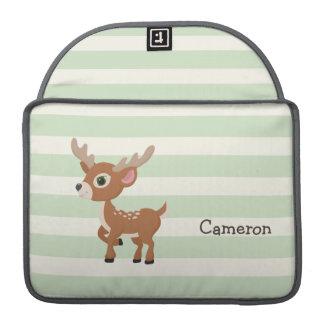 Ciervos en rayas verdes en colores pastel funda macbook pro