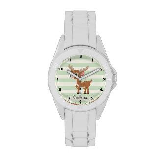 Ciervos en rayas verdes en colores pastel relojes de pulsera