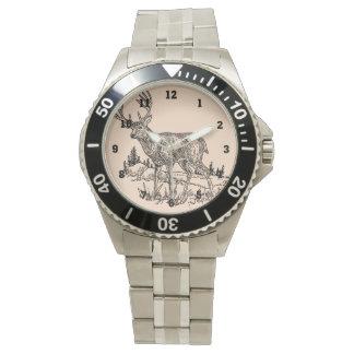 Ciervos en un dibujo del campo relojes de pulsera