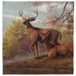 Ciervos en un otoño a orillas del lago servilletas