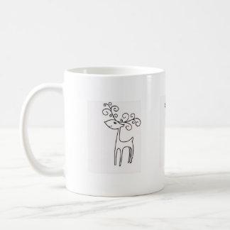 Ciervos felices taza básica blanca