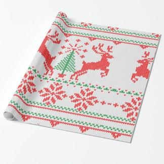 Ciervos feos del suéter del punto del blanco de papel de regalo