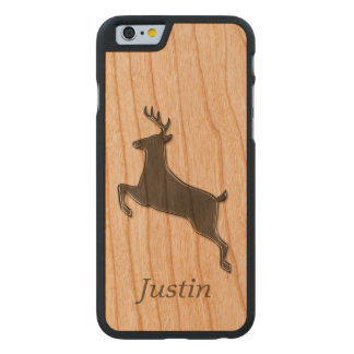 Ciervos grises personalizados funda de iPhone 6 carved® de cerezo