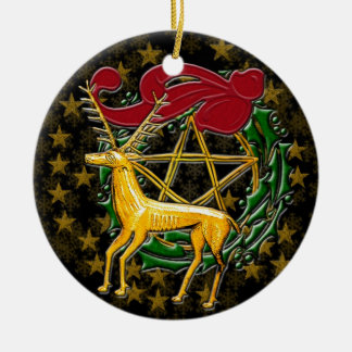Ciervos, guirnalda, y pentáculo #1 del oro adorno navideño redondo de cerámica