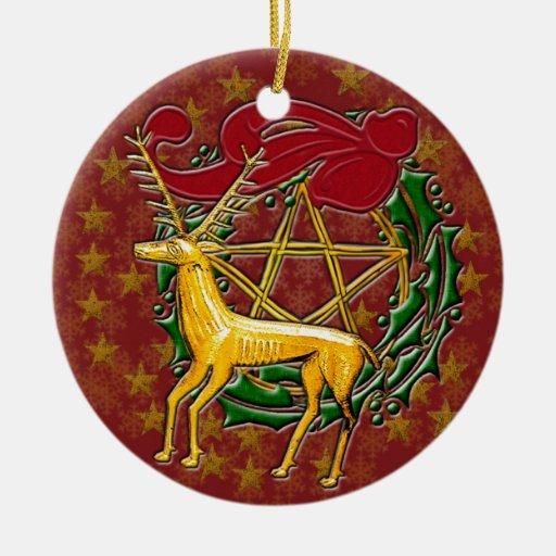 Ciervos, guirnalda, y pentáculo #2 del oro adorno redondo de cerámica