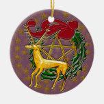 Ciervos, guirnalda, y pentáculo #4 del oro ornamentos de reyes magos