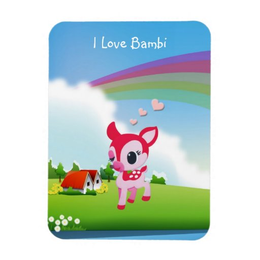 Ciervos lindos Bambi del amor de I con escena del  Imanes De Vinilo