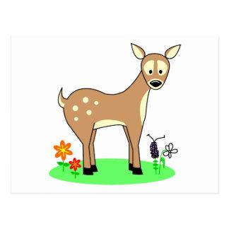 Ciervos lindos del dibujo animado postal