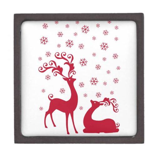 Ciervos lindos del navidad con los copos de nieve cajas de regalo de calidad