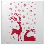 Ciervos lindos del navidad con los copos de nieve servilletas imprimidas