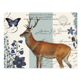 ciervos modernos del arbolado del vintage postal