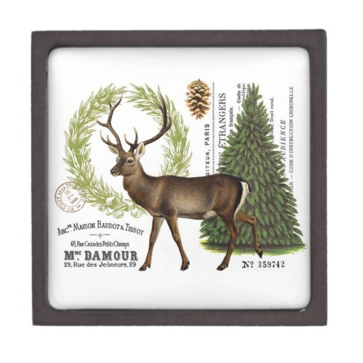 ciervos modernos del invierno del arbolado del caja de joyas de calidad